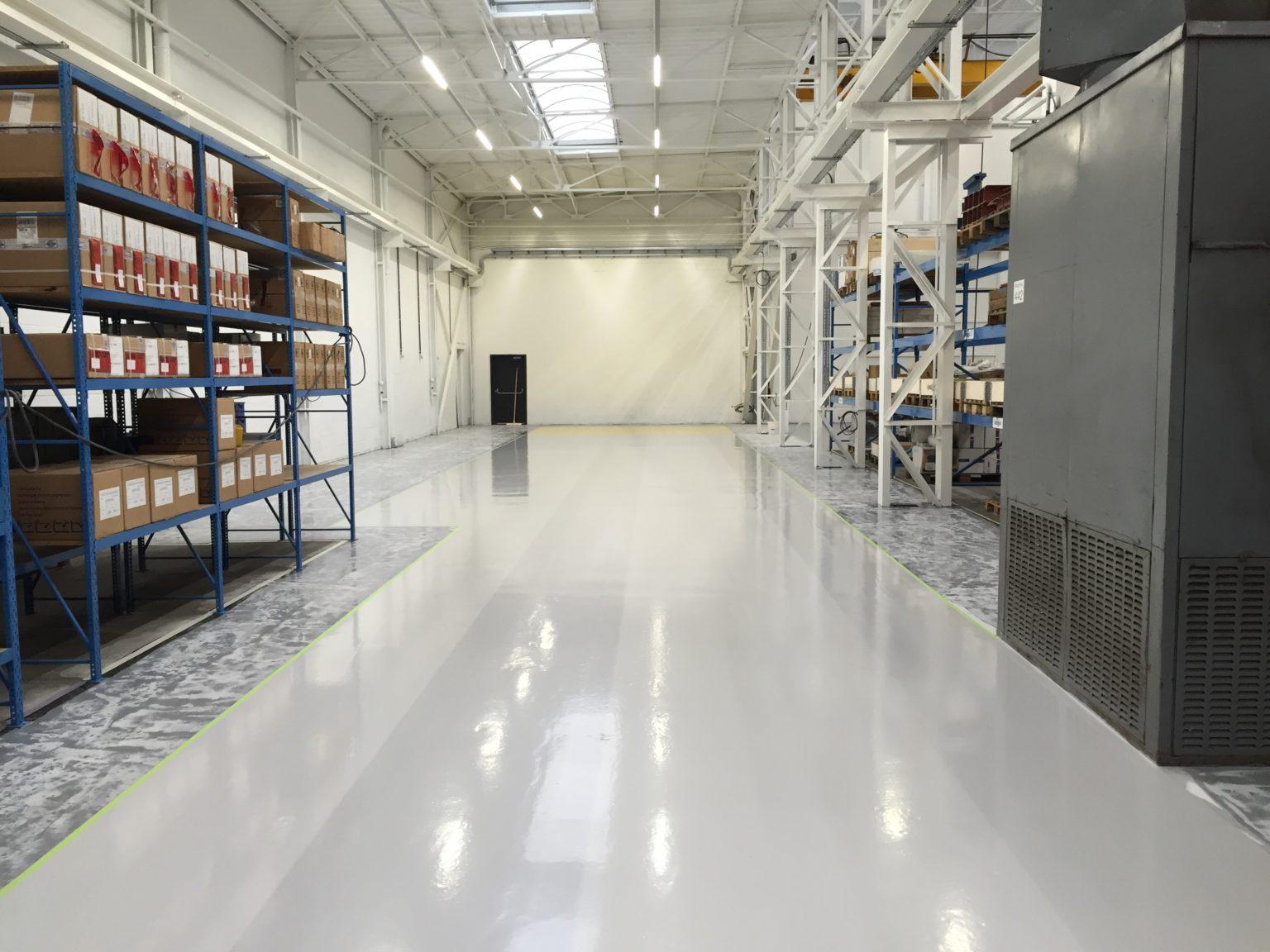 Epoxy verf, epoxy coating, magazijn, industrie vloeren
