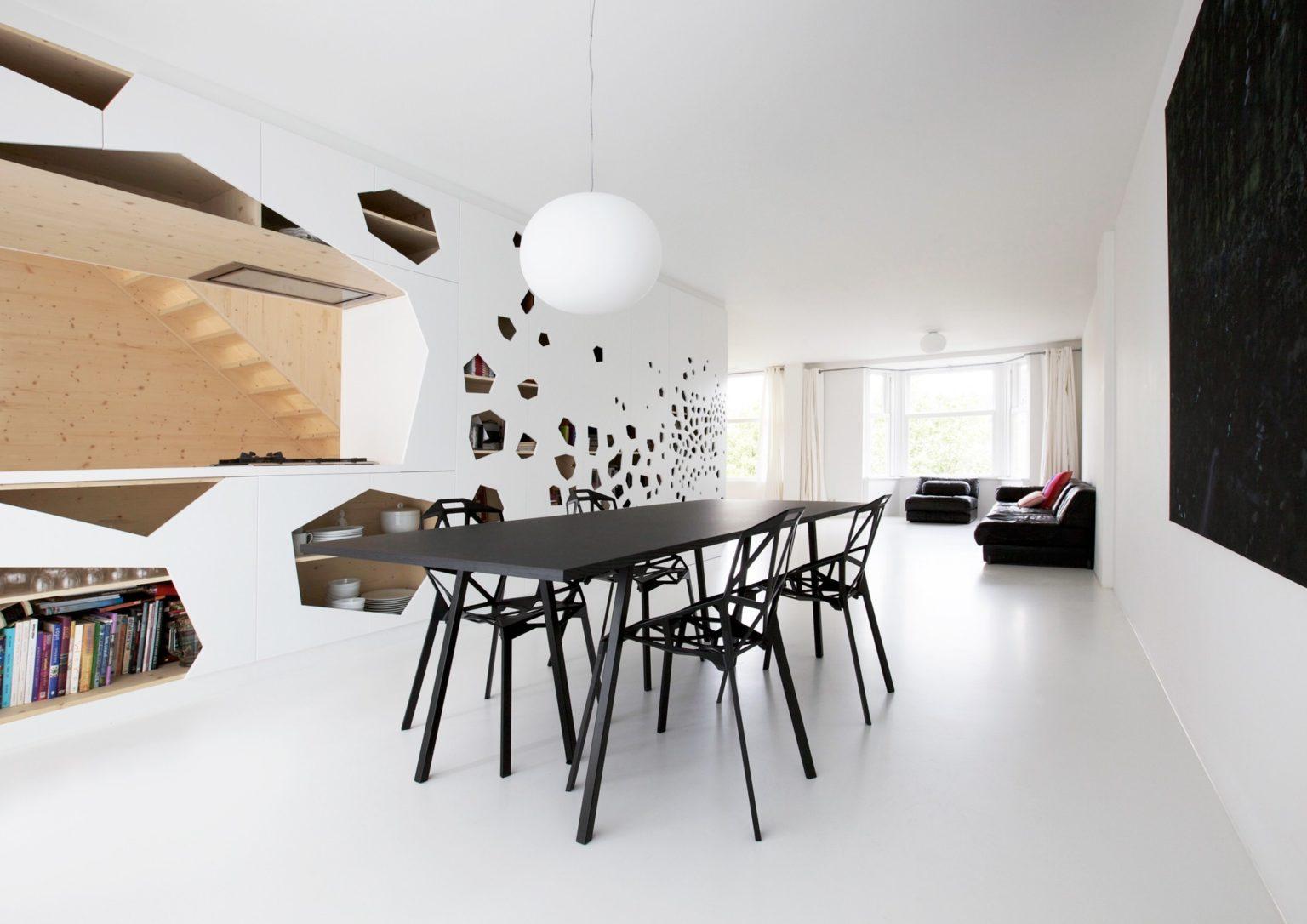 Gietvloer keuken, living, interieur, vloeren